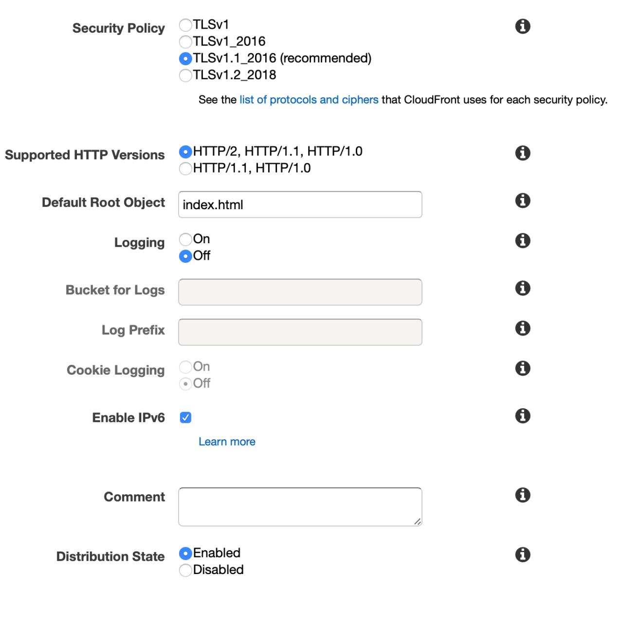 Cloudfront configurer le fichier par défaut