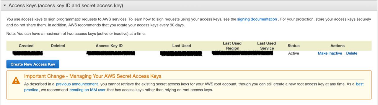 Sécurité du compte - Créer une nouvelle clé API (access key)