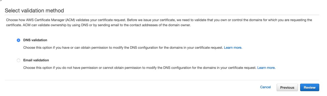 Type de validation avec le Certificate Manager
