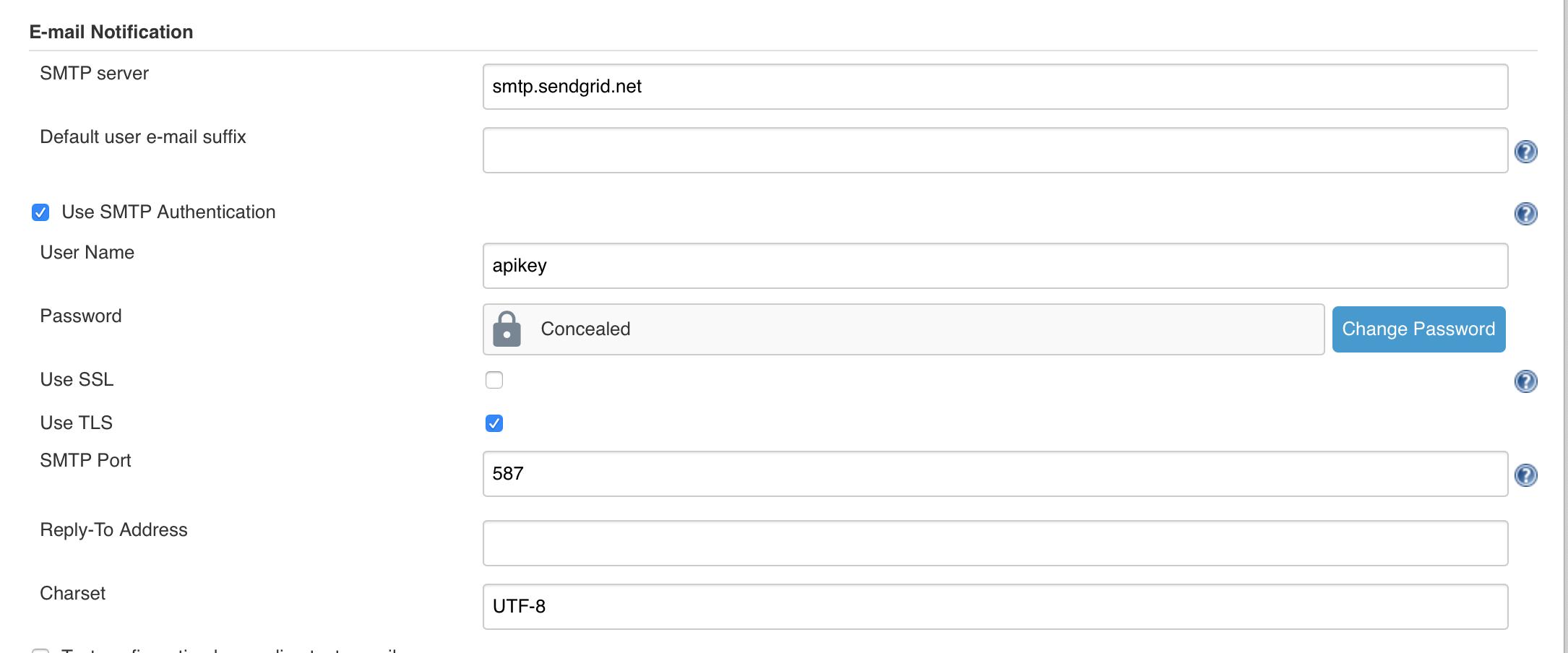 Jenkins configuration sendgrid