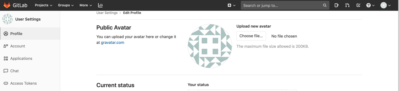 Gitlab menu profile