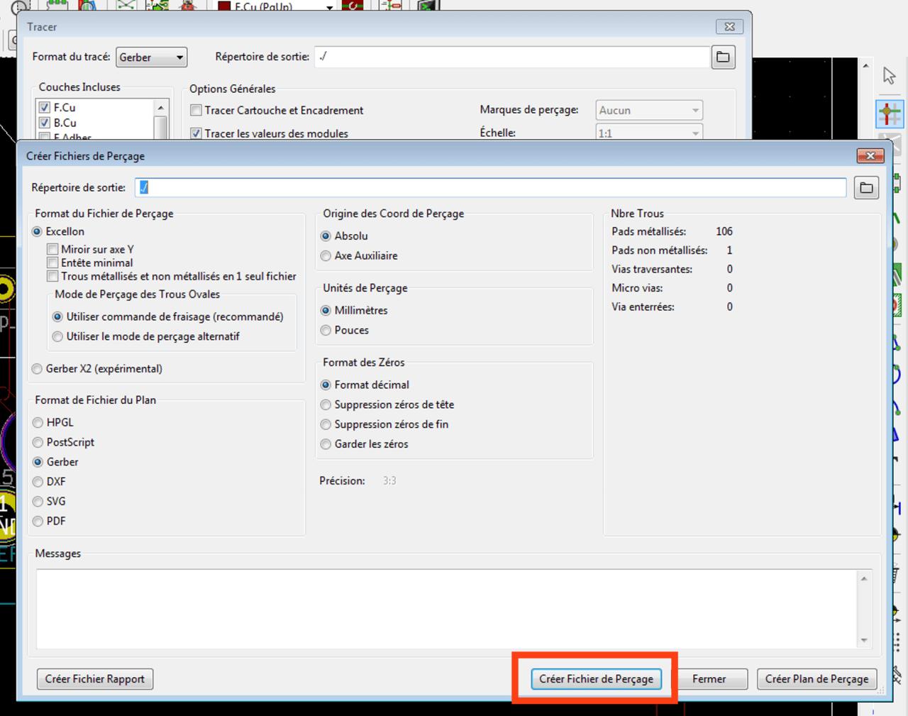 Exporter fichiers de perçage